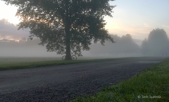 Madon sijaan aamupyöräilijä nappaa parhaat maisemat. Kuva: Terhi Jaakkola